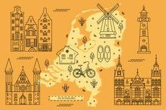 在平的线设计的荷兰地图 免版税库存照片