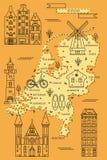 在平的线设计的荷兰地图 库存照片