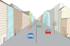 在平的设计样式的都市风景 免版税库存图片