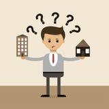 在平的设计的企业概念 选择的问题在房子和公寓、村庄和镇之间的 向量 库存照片