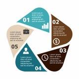在平的设计的企业infographic五边形 您的选择或步的布局 背景的抽象样式 库存例证