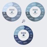 在平的设计的企业infographic图蓝色圈子 您的选择或步的布局 背景的抽象样式 库存例证