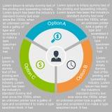 在平的设计的企业infographic圈子 您的选择或步的布局 背景的抽象样式 向量例证