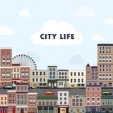 在平的设计的可爱的都市风景 免版税库存照片