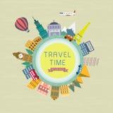 在平的设计的旅行时间概念 免版税库存照片