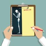 在平的设计的智能手机瘾Infographic 剪贴板在医生手上 医疗和医疗保健报告 库存例证
