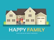 在平的设计背景概念的愉快的家庭 妈妈、站立在大房子附近的爸爸、儿子和女儿 您的象 免版税库存照片