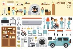 在平的设计背景概念的医疗大收藏 Infographic与医护人员医生和护士的元素集 库存例证