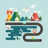 在平的设计观念的风景旅行 图库摄影