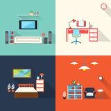 在平的设计设置的创造性的家具象 库存照片