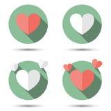 在平的象样式的心脏 图库摄影