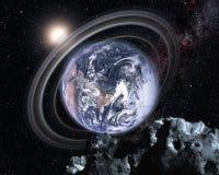 在平行的宇宙的地球 免版税库存图片