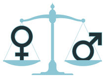 在平衡的标度与男性和女性象 库存图片