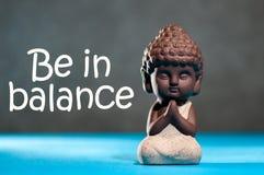 在平衡-平衡的刺激在生活、工作、家庭、体育和瑜伽之间 思考的babby菩萨 免版税库存照片