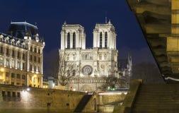 在平衡l,巴黎,法国的Notre Dame主教的座位 图库摄影