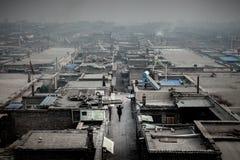 在平遥,中国的煤灰污染 免版税库存照片