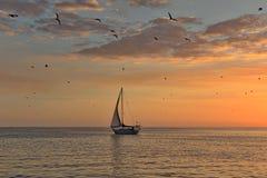 在平静的海的风船 库存图片