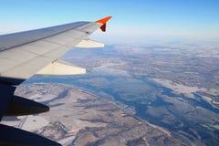 在平面翼河伏尔加河下 喀山俄国 库存照片
