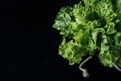 在年迈的木板葡萄酒水平的顶视图的黑暗的背景隔绝的新鲜的蔬菜沙拉莴苣叶子 免版税库存照片