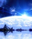 在幻想行星的横向 向量例证