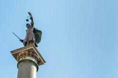 在广场圣诞老人Trinita的正义雕象在佛罗伦萨 图库摄影