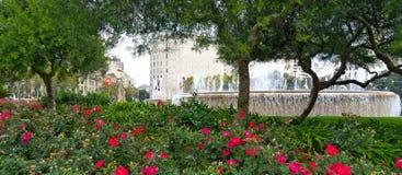 在广场de Catalunya的喷泉在巴塞罗那,西班牙 免版税图库摄影