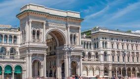 在广场del Duomo大教堂广场的圆顶场所维托里奥Emanuele II timelapse 股票视频