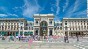 在广场del Duomo大教堂广场的圆顶场所维托里奥Emanuele II timelapse hyperlapse 影视素材