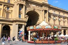 在广场della Repubblica,佛罗伦萨的转盘 库存图片