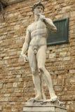 在广场della Signoria的大卫雕象在佛罗伦萨,意大利 库存照片