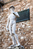 在广场della Signoria的雕象大卫在佛罗伦萨 免版税库存照片