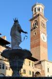 在广场delle Erbe的玛丹娜喷泉在维罗纳,意大利 库存照片