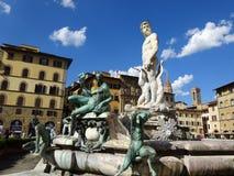 在广场Signoria佛罗伦萨的海王星喷泉 库存图片