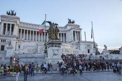 在广场Venezia的Vittoriano大厦在罗马 库存图片