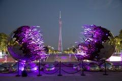 在广州中国夜场面的好的小行政区塔 免版税库存照片