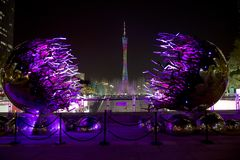 在广州中国夜场面的小行政区塔 免版税库存图片