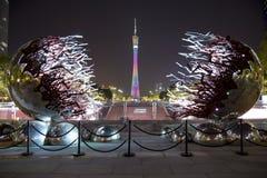 在广州夜场面的好的小行政区塔 库存图片