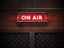 在广播屋子上的门的空气标志 3d例证 库存图片