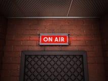 在广播屋子上的门的空气标志 3d例证 图库摄影