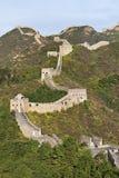 在庄严长城的看法在金山岭的日落的, 120 KM东北从北京 免版税库存照片