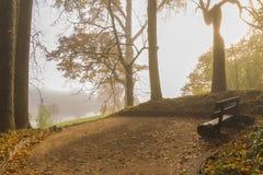 在庄园住宅Trigorskoye,在河的有雾的早晨里换下场 库存照片