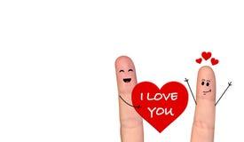在庆祝情人节的爱的愉快的手指夫妇 免版税库存照片