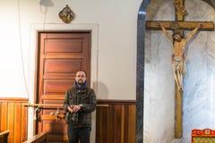 在庆祝耶稣洗礼期间俄罗斯正教会教区的  库存照片