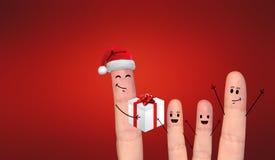在庆祝Xmas的爱的愉快的手指夫妇 免版税库存图片