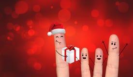 在庆祝Xmas的爱的愉快的手指夫妇 库存照片