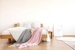 在床上投掷的毯子 库存图片