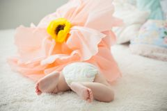 在床上的婴孩在一朵纸花 免版税库存照片