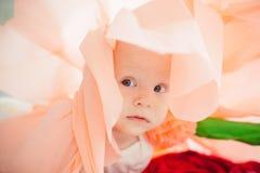 在床上的婴孩在一朵纸花 图库摄影