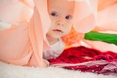 在床上的婴孩在一朵纸花 库存图片