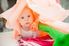 在床上的婴孩在一朵纸花 库存照片